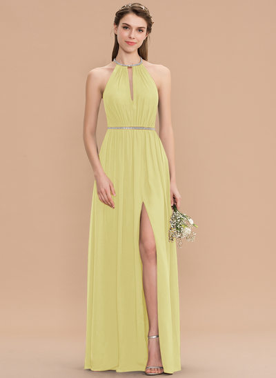 A-Line Scoop Neck Floor-Length Chiffon Bridesmaid Dress With Ruffle Beading Split Front
