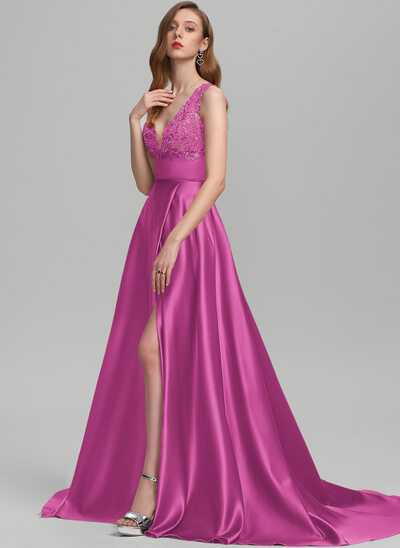 A-Line V-neck Sweep Train Satin Prom Dresses With Sequins Split Front