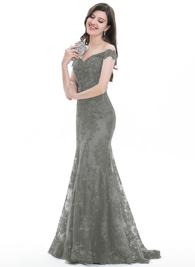 Trumpet/Mermaid Off-the-Shoulder Sweep Train Tulle Lace Evening Dress With Sequins