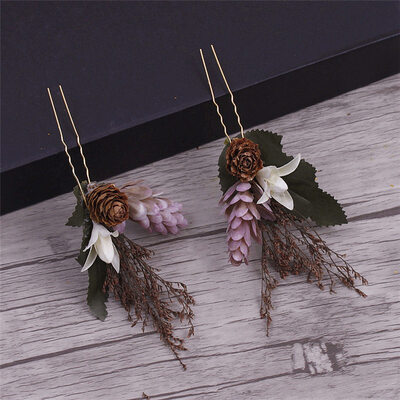 Romantic Alloy/Rattan Straw Hairpins (Set of 4)