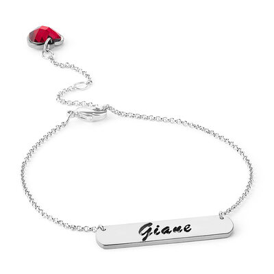Custom Platinum Plated Delicate Chain Name Bracelets Birthstone Bracelets - Valentines Gifts For Her