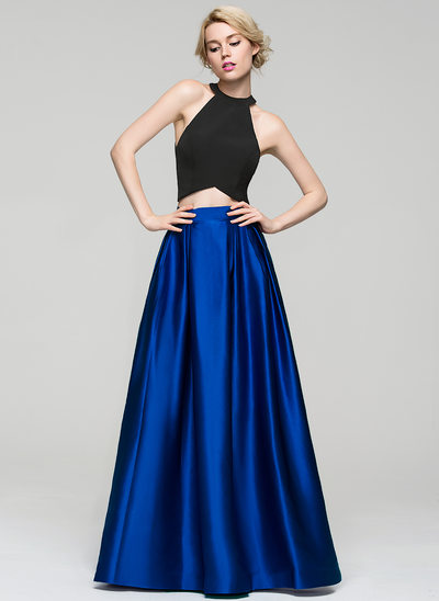 A-Line/Princess Scoop Neck Floor-Length Satin Evening Dress