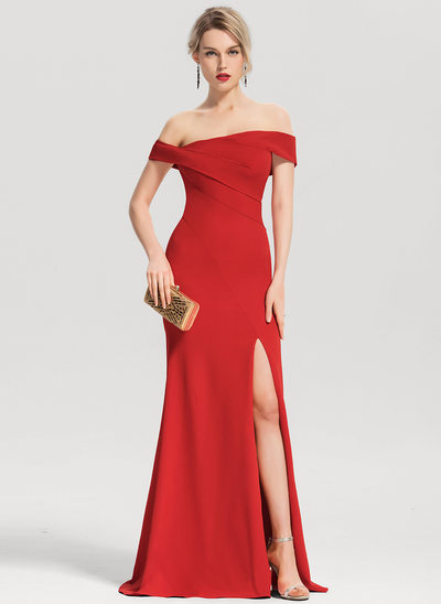 Trumpet/Mermaid Off-the-Shoulder Floor-Length Satin Evening Dress With Split Front