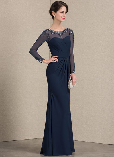 Sheath/Column Scoop Neck Floor-Length Chiffon Mother of the Bride Dress With Ruffle Beading