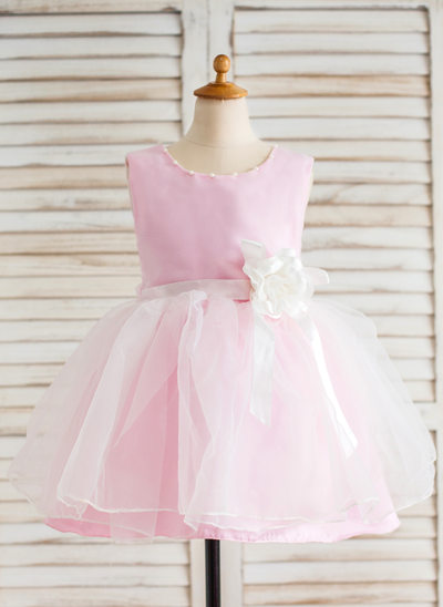 Ball Gown Knee-length Flower Girl Dress - Organza Sleeveless Scoop Neck With Sash/Beading/Flower(s)