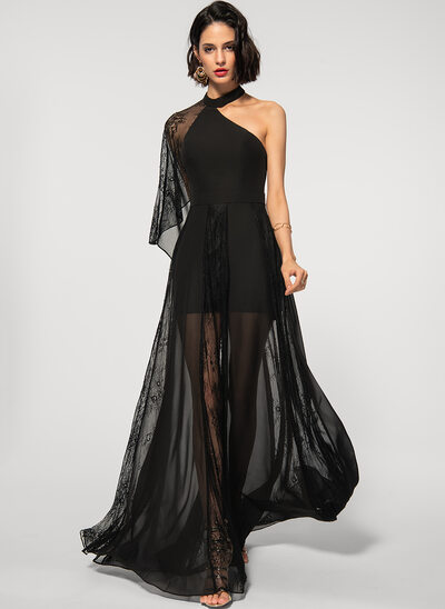 A-Line One-Shoulder Floor-Length Chiffon Lace Evening Dress
