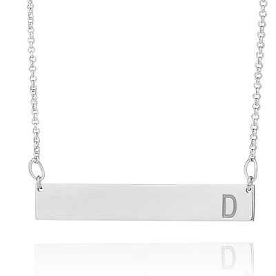 Custom Silver Engraving/Engraved Initial Necklace - Christmas Gifts