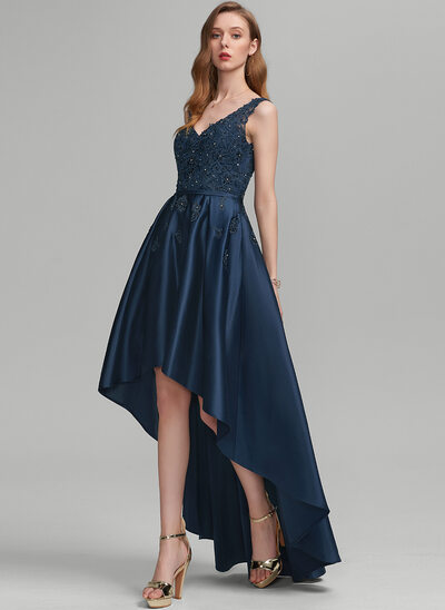 A-Line V-neck Asymmetrical Satin Prom Dresses With Beading Sequins