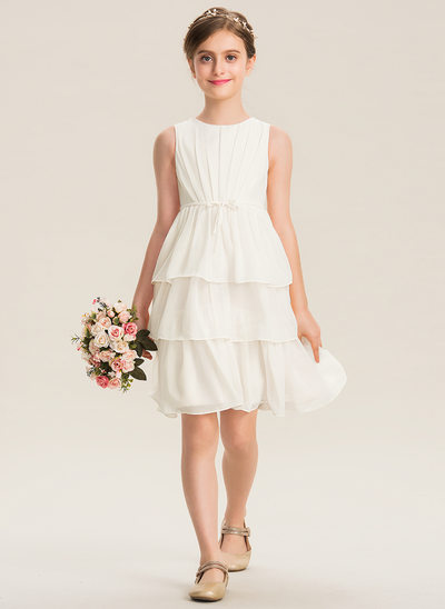 A-Line Scoop Neck Knee-Length Chiffon Junior Bridesmaid Dress With Bow(s) Cascading Ruffles