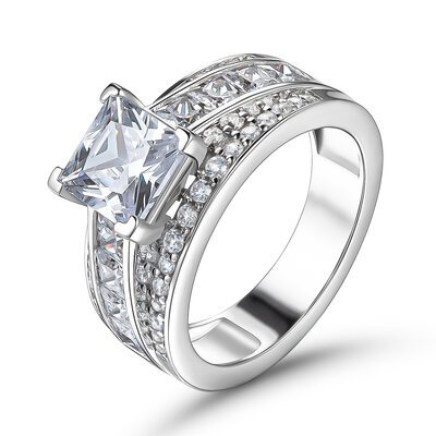 Promise Princess Cut 925 Silver Engagement Rings