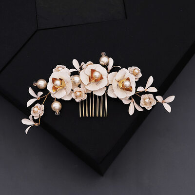 Ladies Beautiful Imitation Pearls Combs & Barrettes With Crystal (Sold in single piece)