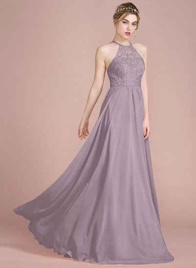 A-Line/Princess Scoop Neck Floor-Length Chiffon Lace Bridesmaid Dress With Beading Sequins