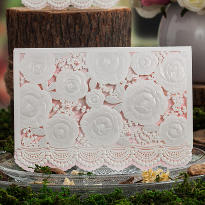 Floral Style Top Fold Invitation Cards With Beads (Set of 50)