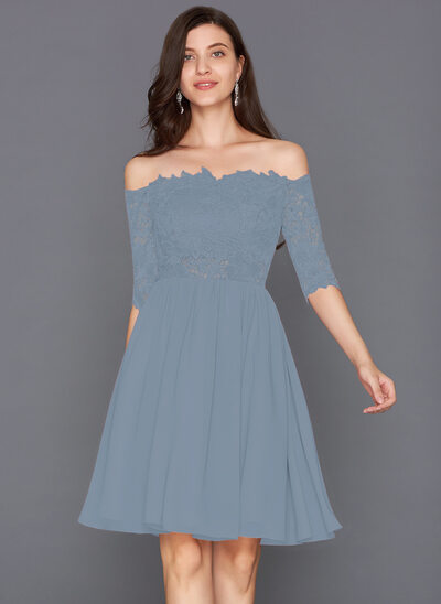 A-Line Scalloped Neck Off-the-Shoulder Knee-Length Chiffon Cocktail Dress