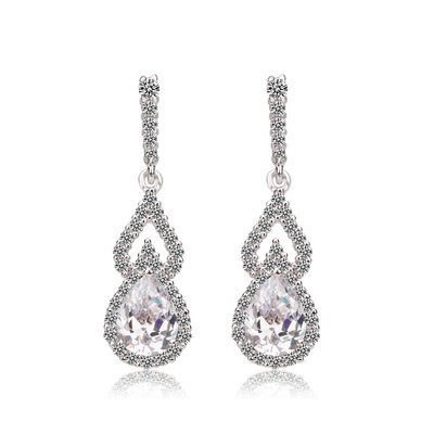 Exquisite Zircon/Platinum Plated Ladies' Earrings