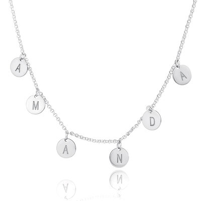 Christmas Gifts For Her - Custom Sterling Silver Letter Initial Necklace Circle Necklace