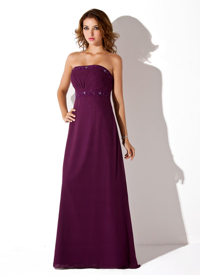 Empire Strapless Floor-Length Chiffon Bridesmaid Dress With Ruffle Beading
