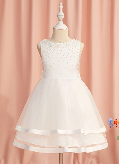 Ball-Gown/Princess Knee-length Flower Girl Dress - Satin/Tulle Sleeveless Scoop Neck With Beading/Bow(s)