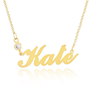 [Free Shipping]Custom 18k Gold Plated Silver Name Necklace With Diamond (288211306)