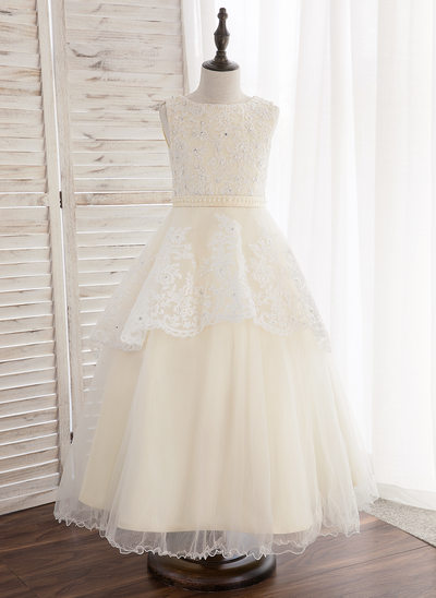 A-Line/Princess Ankle-length Flower Girl Dress - Tulle/Lace Sleeveless Scoop Neck With Beading