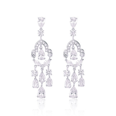 Ladies' Shining Copper/Platinum Plated With Marquise Cubic Zirconia Earrings For Bridesmaid/For Mother