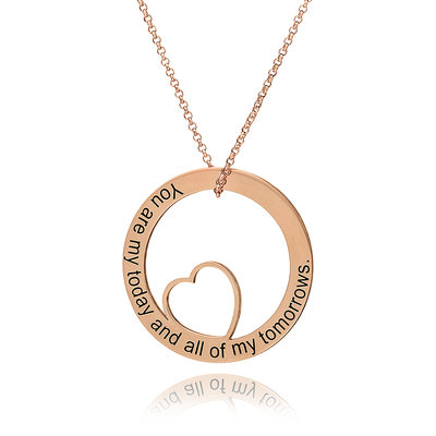 Christmas Gifts For Her - Custom 18k Rose Gold Plated Silver Engraving/Engraved Circle Heart Necklace Circle Necklace