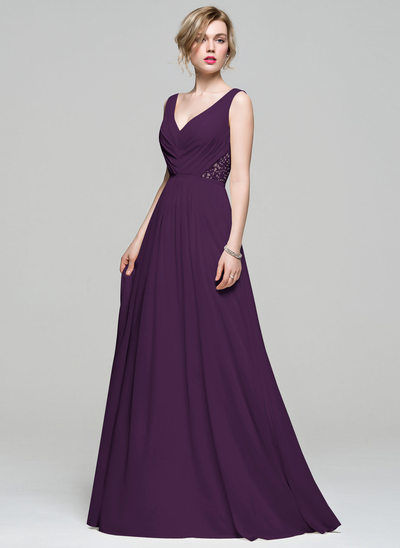 A-Line/Princess V-neck Floor-Length Chiffon Bridesmaid Dress With Ruffle Lace Beading Sequins