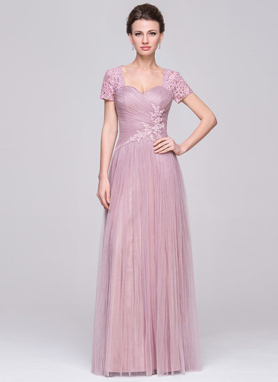 A-Line/Princess Sweetheart Floor-Length Tulle Mother of the Bride Dress With Ruffle Beading Sequins
