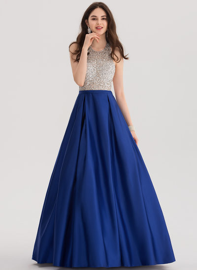 Ball-Gown Halter Floor-Length Satin Prom Dress With Beading Sequins