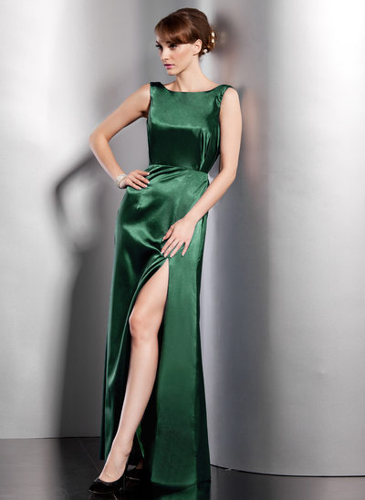 A-Line/Princess Scoop Neck Floor-Length Charmeuse Evening Dress With Split Front