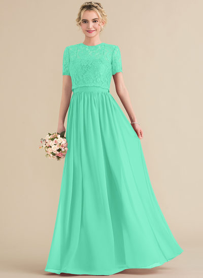 A-Line/Princess Sweetheart Floor-Length Chiffon Evening Dress