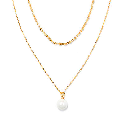 18k Gold Plated Silver Circle Pearl Necklace Double Necklace
