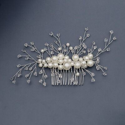 Ladies Beautiful Crystal/Imitation Pearls Combs & Barrettes With Venetian Pearl/Crystal (Sold in single piece)