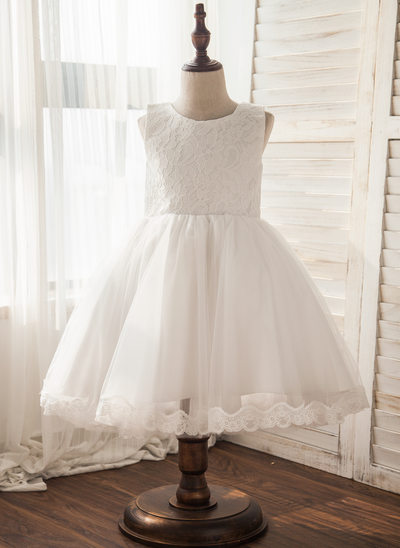 A-Line/Princess Knee-length Flower Girl Dress - Tulle/Lace Sleeveless Scoop Neck With Bow(s)