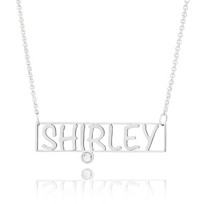 Christmas Gifts For Her - Custom Silver Bar Hollow Carved Name Necklace With Birthstone