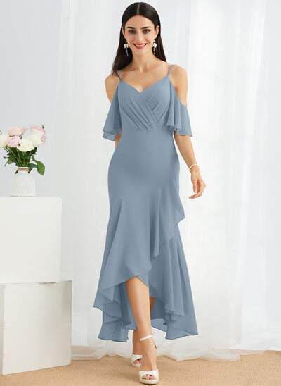 Trumpet/Mermaid V-neck Asymmetrical Cocktail Dress With Ruffle