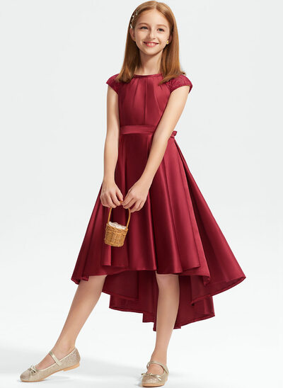A-Line Scoop Neck Asymmetrical Satin Lace Junior Bridesmaid Dress