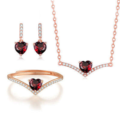 Ladies' Unique 925 Sterling Silver/Rose Gold Plated Crystal Jewelry Sets For Bride/For Bridesmaid