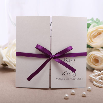 Personalized Formal Style Gate-Fold Invitation Cards With Ribbons