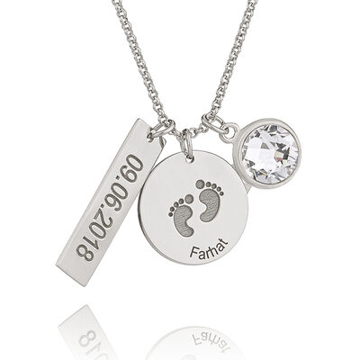 Christmas Gifts For Her - Custom Sterling Silver Bar Circle Birthstone Necklace Engraved Necklace With Kids Names