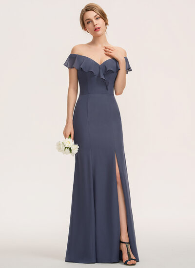 Sheath/Column Off-the-Shoulder Floor-Length Chiffon Evening Dress With Split Front Cascading Ruffles
