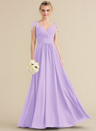 A-Line V-neck Floor-Length Chiffon Bridesmaid Dress With Ruffle Beading Sequins