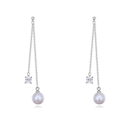 Exquisite Pearl/Copper/Zircon With Cubic Zirconia Earrings