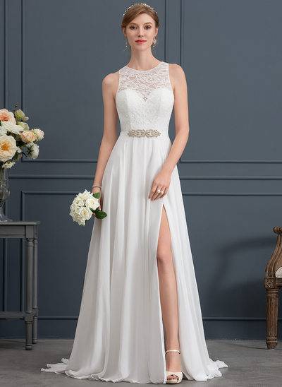 A-Line/Princess Scoop Neck Sweep Train Chiffon Wedding Dress With Beading Split Front