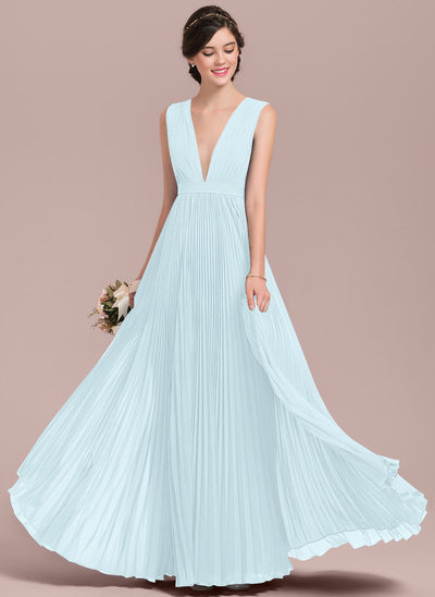 A-Line/Princess V-neck Floor-Length Chiffon Bridesmaid Dress With Bow(s) Pleated