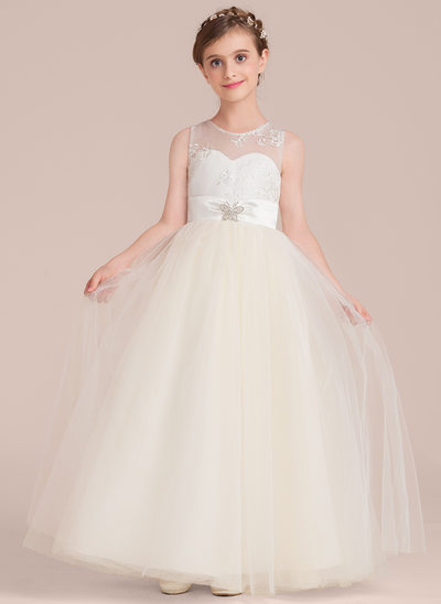 Floor-length Flower Girl Dress - Tulle/Charmeuse/Lace Sleeveless Scoop Neck With Sash/Beading