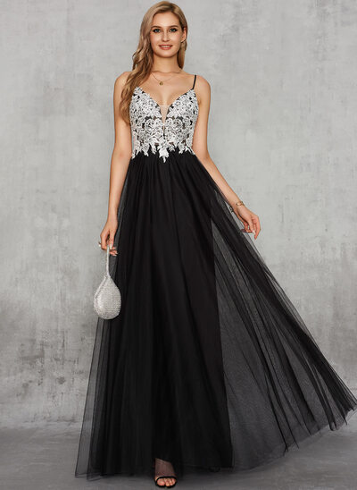 A-Line V-neck Floor-Length Chiffon Tulle Evening Dress With Lace