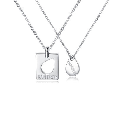 Personalized Couples' Attractive 925 Sterling Silver With Pear Engraved Necklaces Necklaces For Bride/For Couple