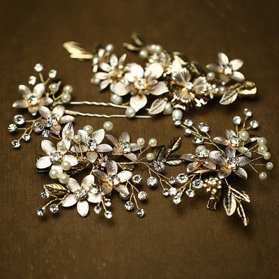 Elegant Rhinestone/Imitation Pearls Hairpins/Combs & Barrettes (Set of 4)