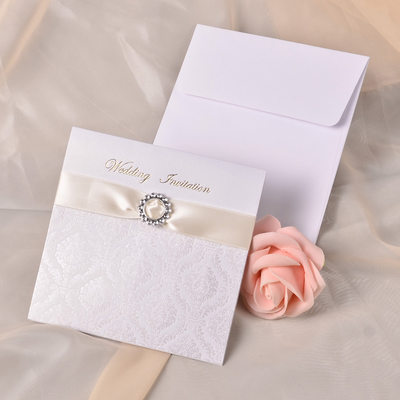 Modern Style Wrap & Pocket Invitation Cards With Ribbons (Set of 10)
